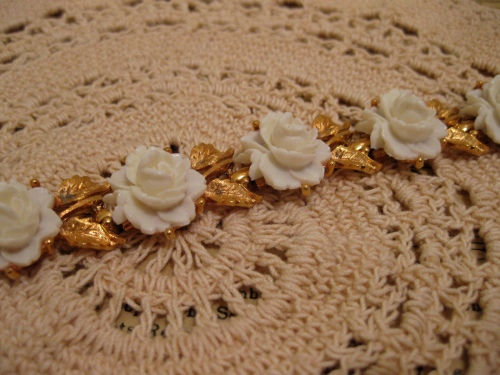 Antique Gold Leaf & Etched Rose Bracelet