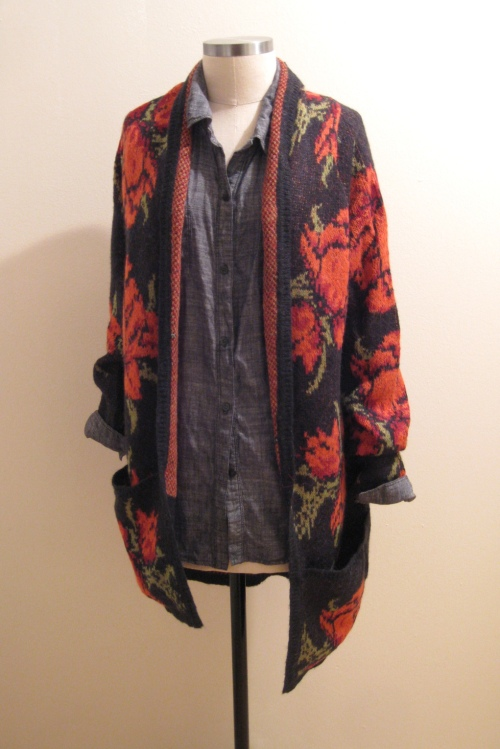 Free People Floral Print Sweater Jacket