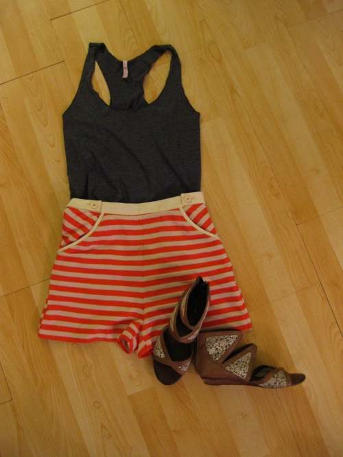 A Basic Charcoal Tank with Striped Sailor Shorts