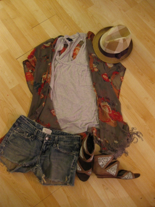 A Basic Tank, Antique Motif Silk Slip & Denim Cut-Offs