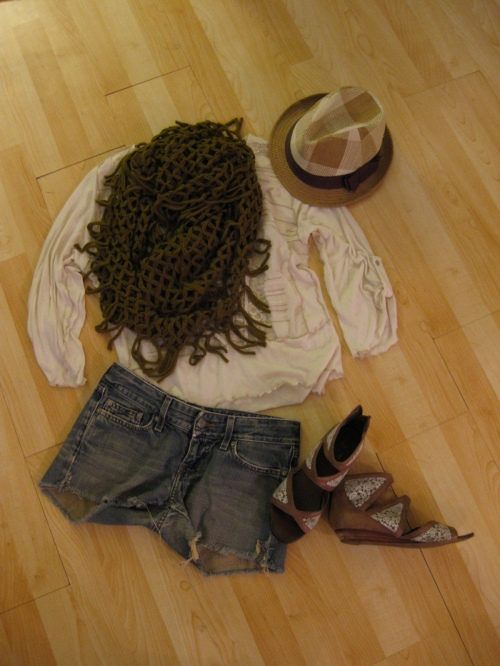 Ivory Embroidered Front Cotton Top with Denim Cut-Offs, A Plaid Fedora & Open Stitch Scarf
