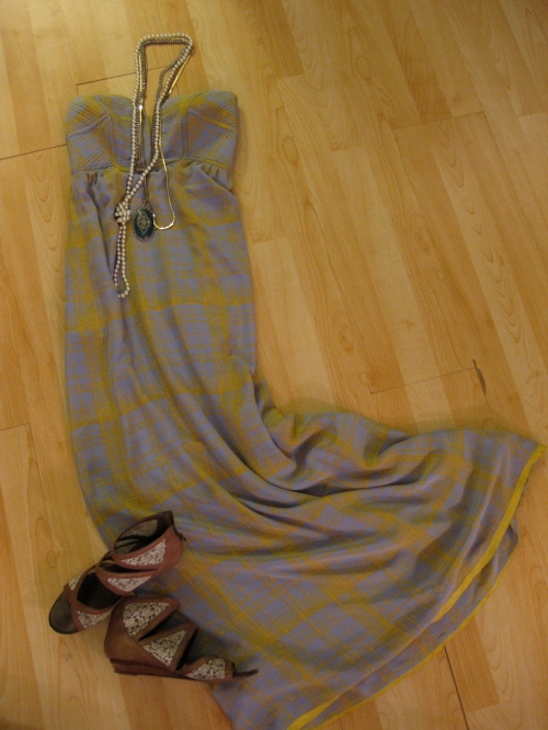 Anthropologie Blue & Yellow Plaid Silk Strapless Maxi Dress