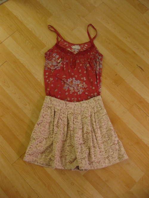 Floral Print Tank Top & Ivory Lace Shorts