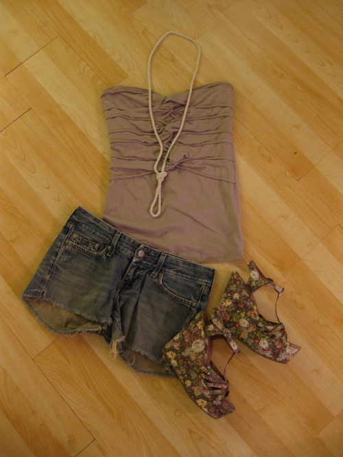Taupe Twist Front Tube Top & Denim Cut-Offs