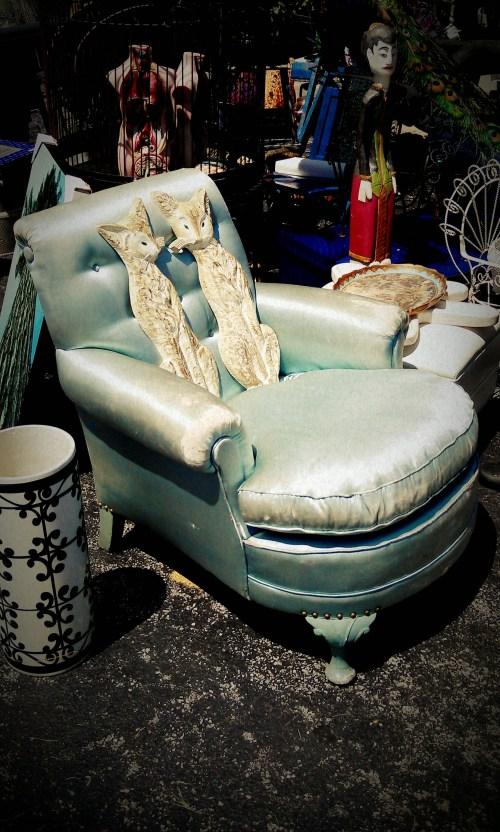 Reclaimed Blue Satin Chair