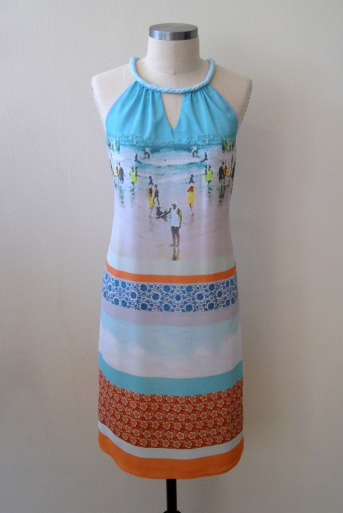 Anthropologie Inkjet Halter Dress - Silk Beach Print Sheath