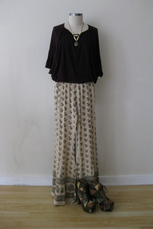 Free People Silk Patterned Wide Leg Pants & Burgundy Top
