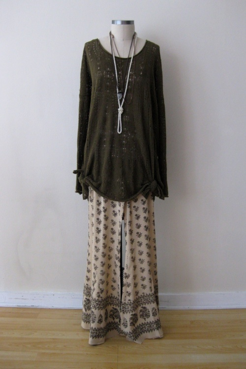 Free People Silk Patterned Wide Leg Pants & Olive Open-Stitch Sweater