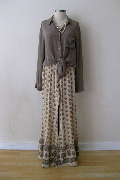 Free People Silk Patterned Wide Leg Pants & Taupe Button-down Blouse