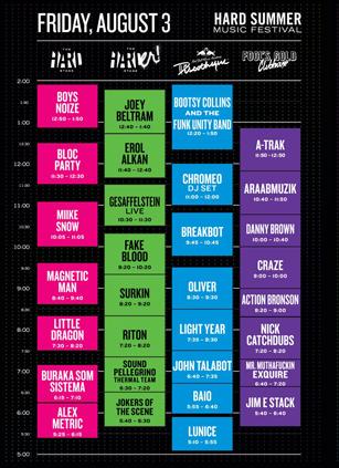 Hard Summer Music Festival 2012 Friday Set Times