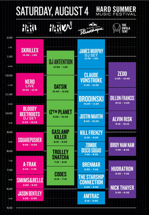 Hard Summer Music Festival 2012 Saturday Set Times