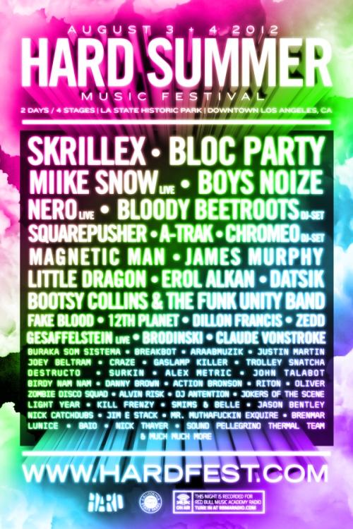 Hard Summer Music Festival Summer 2012 Line-Up