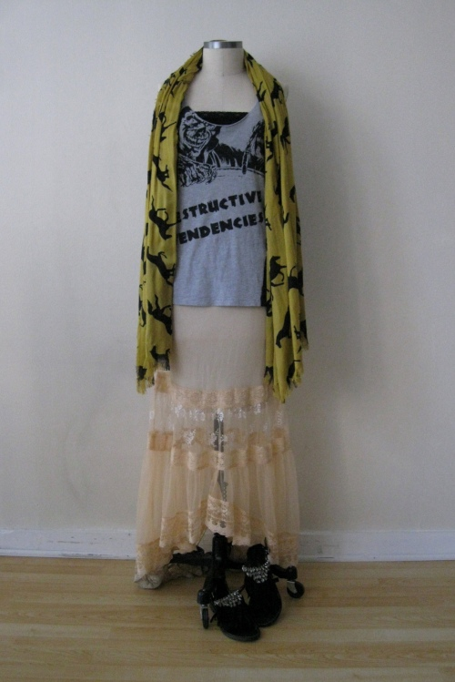 Urban Outfitters Light Pink High-Low Skirt with Destructive Tendencies Tank & Horse Scarf