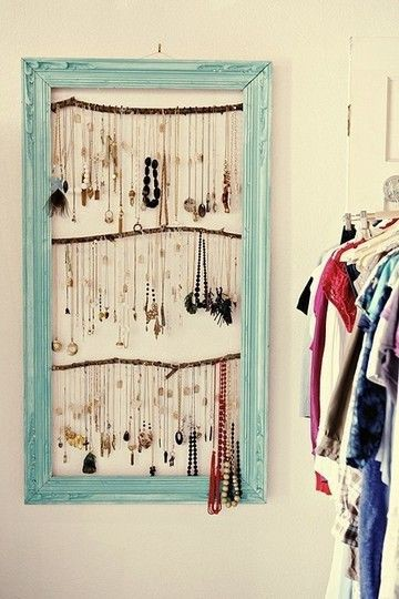 Creative Jewelry Solution - Necklaces Hanging from Branches in Frame