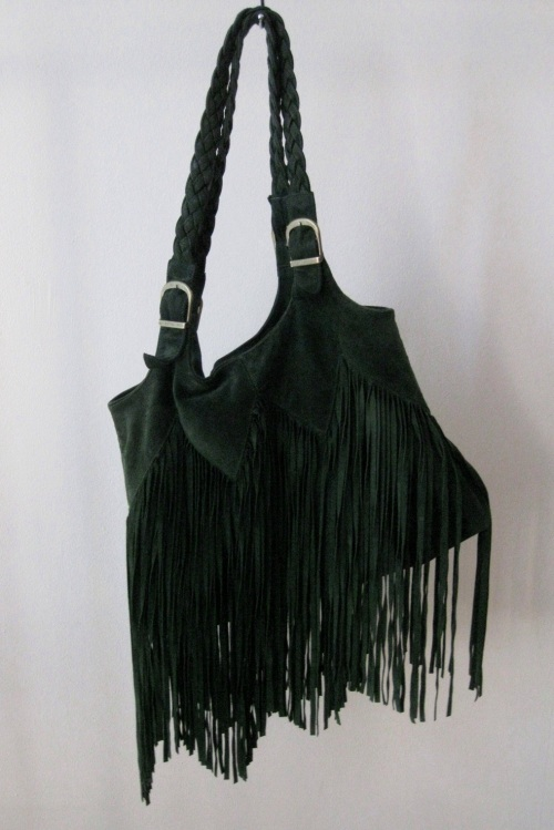 Ember Skyy - Hunter Green Suede Fringe Handbag