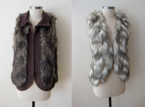 Arden B. Brown Furry Vest & Free People Mixed Fur Vest
