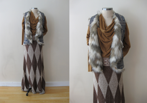 FP Furr-Paisley Vest w Goldenrod Sweater & Argyle Maxi Skirt