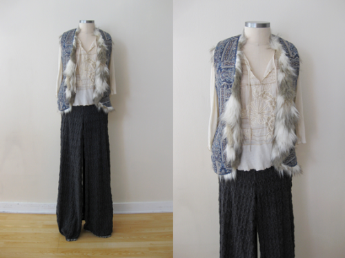 FP Furry-Paisley Vest w Embroidered Top & Navy Knit Pants