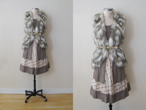 FP Furry Vest belted w Anthro Mixed Print Cotton Strapless Dress