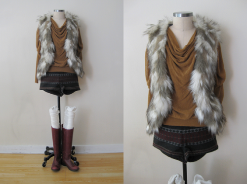 FP Furry Vest w Goldenrod Sweater & Printed Wool Shorts