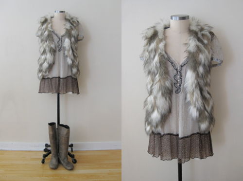 Free People Furry Vest w Mixed Print Silk Tunic