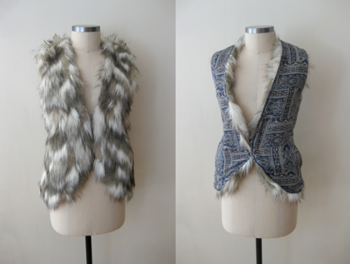 Free People Call of the Wild Reversible Furry Vest