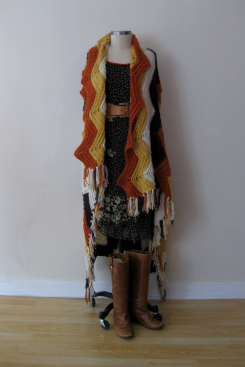 Free People Dark Floral Dress w Missoni-inspired Crochet Poncho