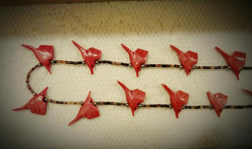 Modern Vintage Chicago - Hand-Carved Coral Beaded Bird Necklace