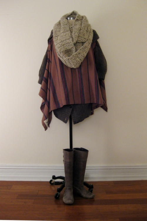UO Striped Poncho, Free People Sweater, Crochet Wrap Hobo Outfit