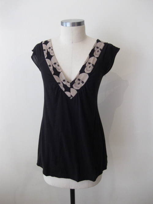 Urban Outfitters Skull Trim V-Neck Cotton Top