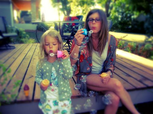 Addie & I Blowing Bubbles