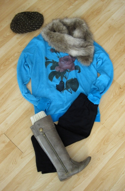 Wildfox Couture Vintage Rose Sweatshirt styled with Leggings, Fur Collar & Olive Beanie