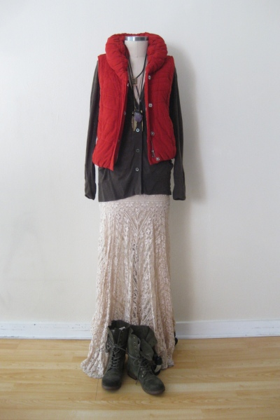 Anthropologie Cord Puffer Vest  worn with Olive Cardigan & Ivory Lace Maxi Skirt