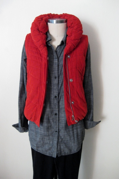 Anthropologie Cord Puffer Vest  worn with Chambray Shirt & Black Leggings