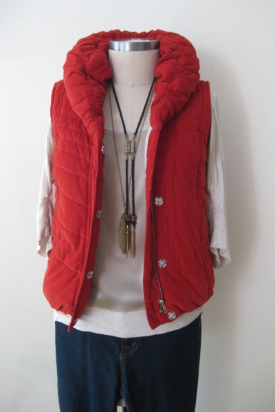 Anthropologie Cord Puffer Vest  worn with Ivory Silk/Cotton Top & Denim