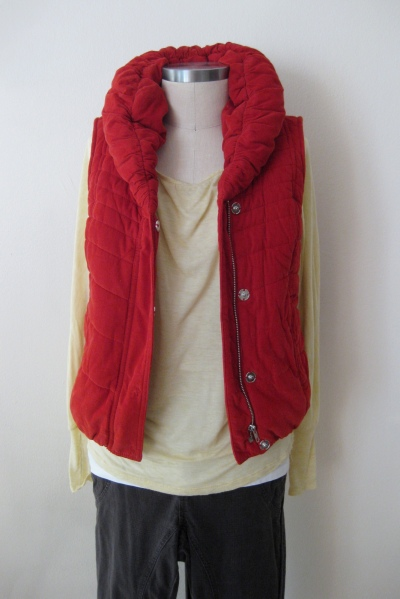 Anthropologie Cord Puffer Vest  worn with Light Yellow Cotton Top