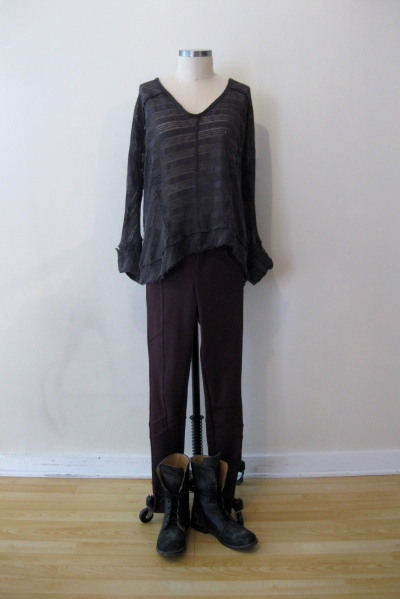 Free People Burgundy Pants w Charcoal Striped Shirt