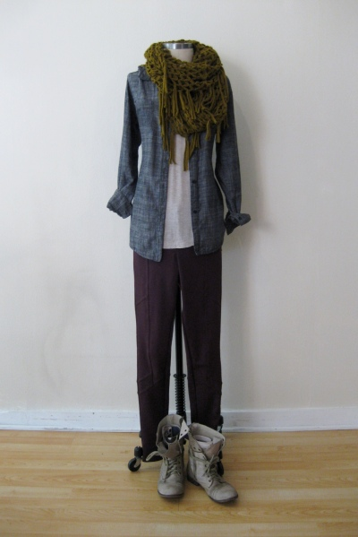 Free People Burgundy Pants w Chambray Shirt & Knit Scarf