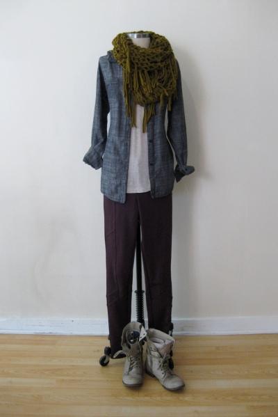 Free People Burgundy Pants w Chambray Shirt & Knit Scarf
