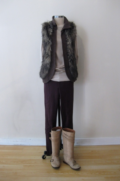 Free People Burgundy Pants w Silk/Cotton Top & Fur Vest