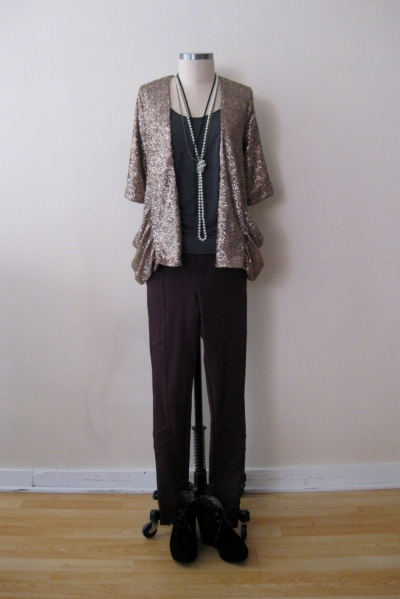 Free People Burgundy Pants w Gold Sequin Blazer