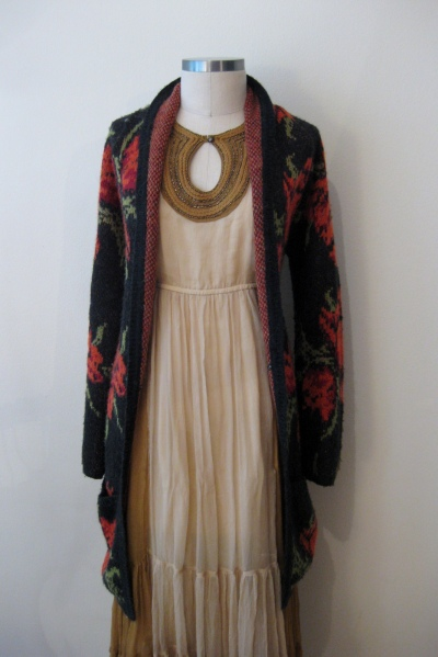 Free People Chiffon Maxi with Floral Print Cardigan