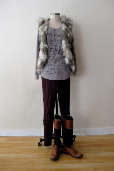 Free People Burgundy Pants w Graphic Thermal & Fur Vest