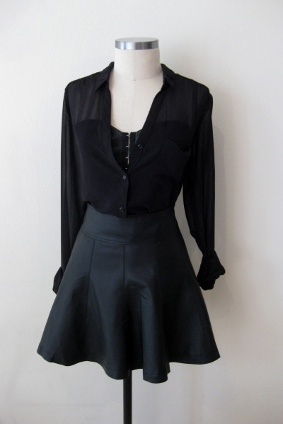 Leather Look - Black Corset Top & Fit-n-Flare Skirt