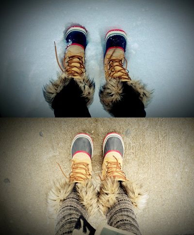 My Sorels in the Snow & Slush