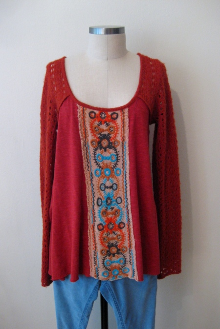 Free People Embroidered-Front Tunic & Bright Blue Cords