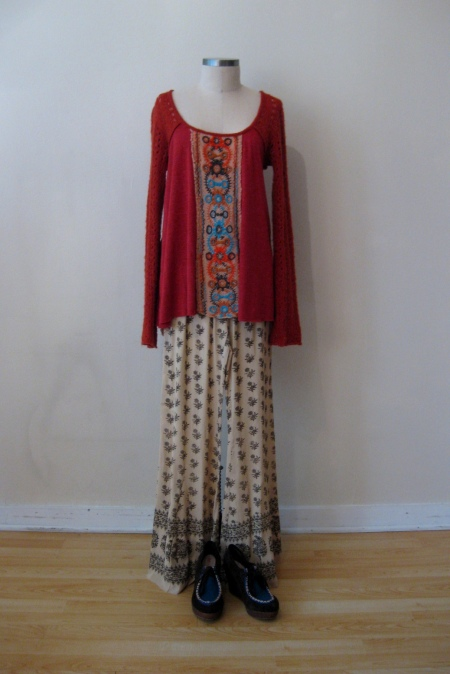 Free People Embroidered-Front Tunic with  FP Ivory Patterned Pants