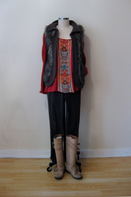 Free People Embroidered-Front Tunic & Brown Furry Vest