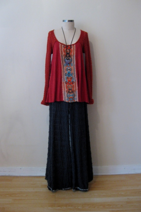 Free People Embroidered-Front Tunic & FP Knit Wide-leg Pants