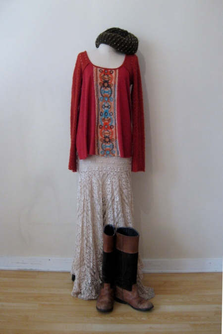 Free People Embroidered-Front Tunic & Lace Maxi Skirt